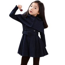 Sonbahar sıcak kız ceketler yün kalın kızlar giyim palto katı ceket kış genç kostümleri kızlar için 6 8 12 yıl