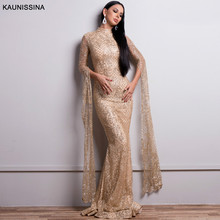 KAUNISSINA Muslim Mermaid Long Sleeves Evening Dresses Saudi Arabia Luxury Sequined Formal Gowns Dubai Kaftan Party Robe