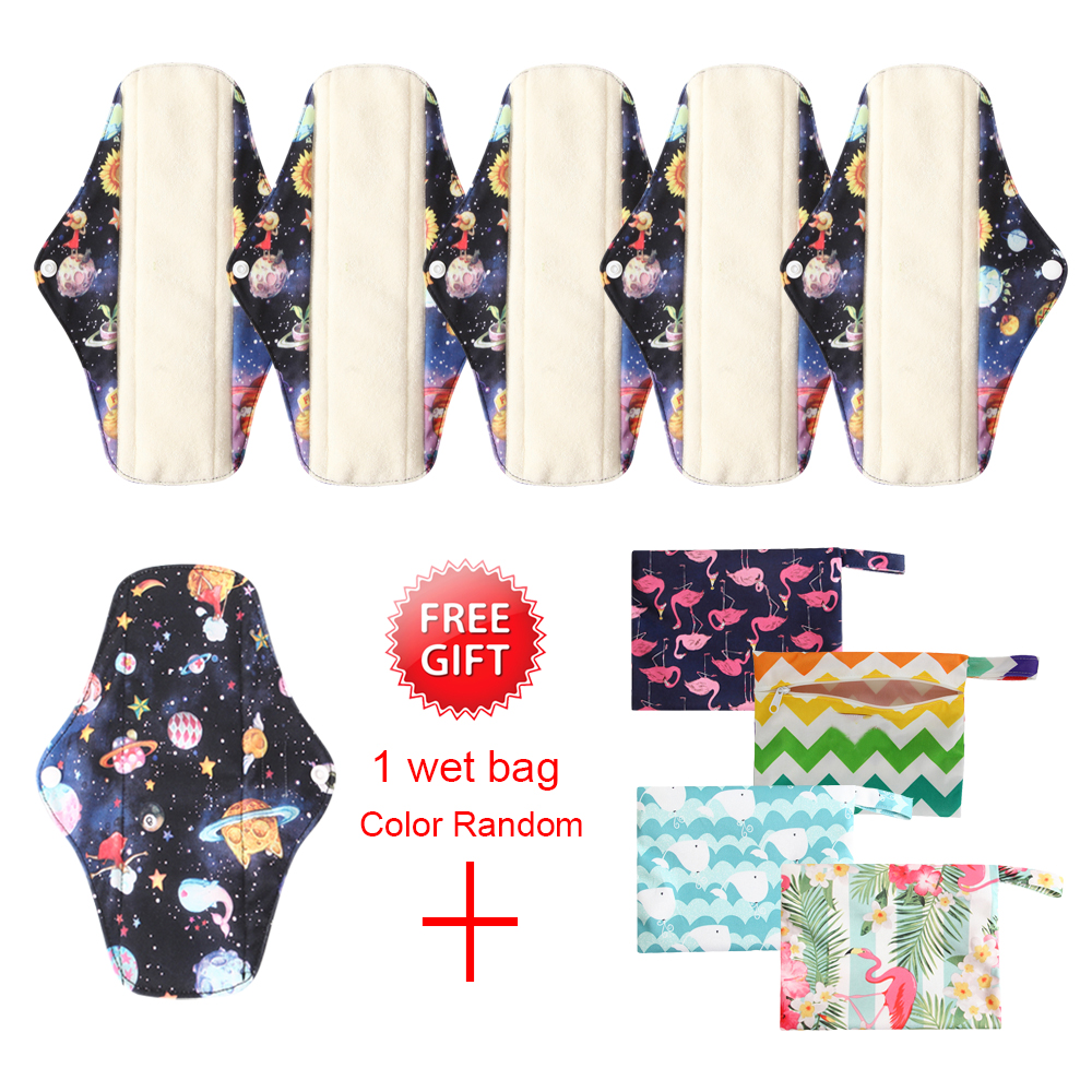 6PCS Washable Sanitary Menstrual Pad Flamingo Print Sanitary Pad Menstrual Pads Bamboo Cotton Cloth Towel Pad With 1 FREE BAG