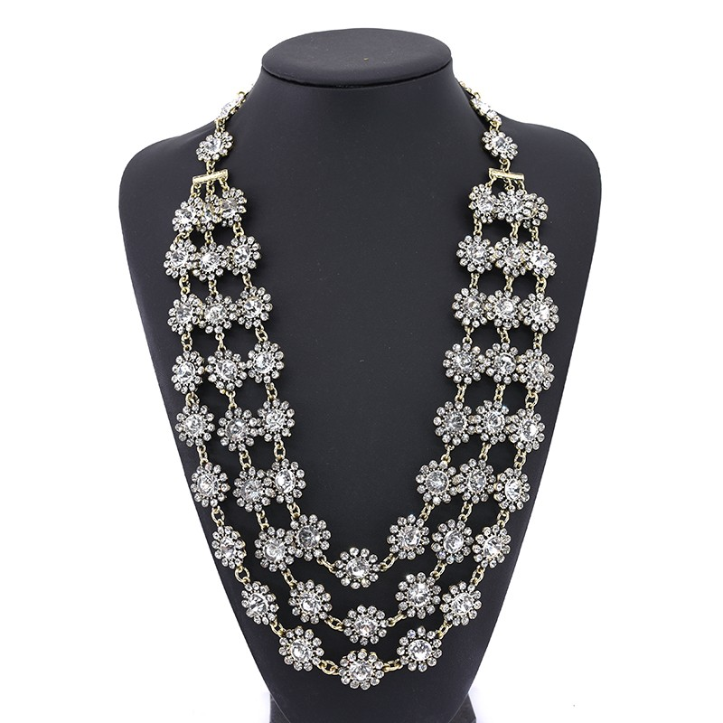 PPG&PGG New Vintage Chunky Chain Statement Heavy Metal Maxi Crystal Flower Collar Necklaces Women Bijoux