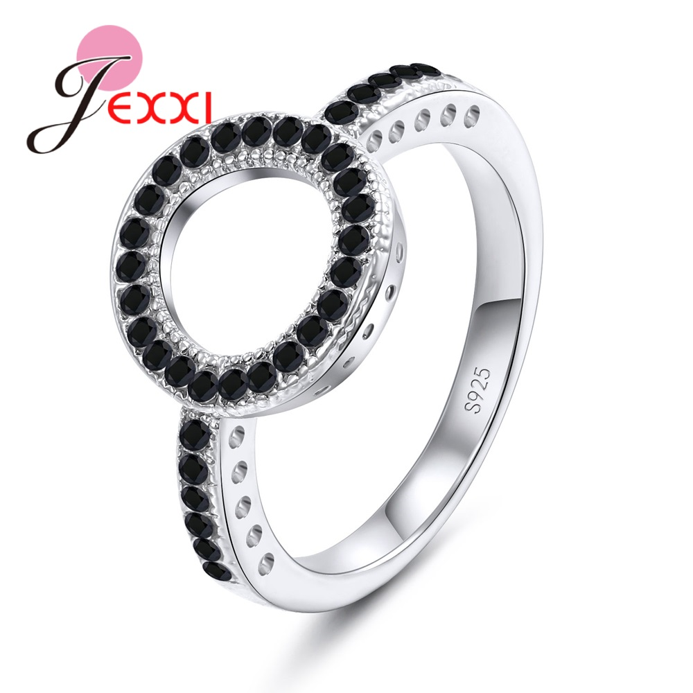 Hot Sale Trendy Round Circle Charm <font><b>Rings</b></font> <font><b>Pure</b></font> <font><b>925</b></font> Sterling <font><b>Silver</b></font> Clear and Black Cubic Zircon Stone Paved Loop Gift Jewelry image