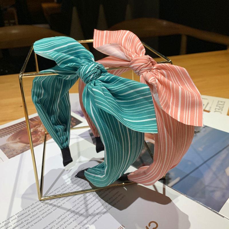 Rabbit Ears Cloth Striped Print Wide Side Bow Headband Hair Hoop Fashion Ladies Dot Solid Hair Band For Girl Hair Accessories