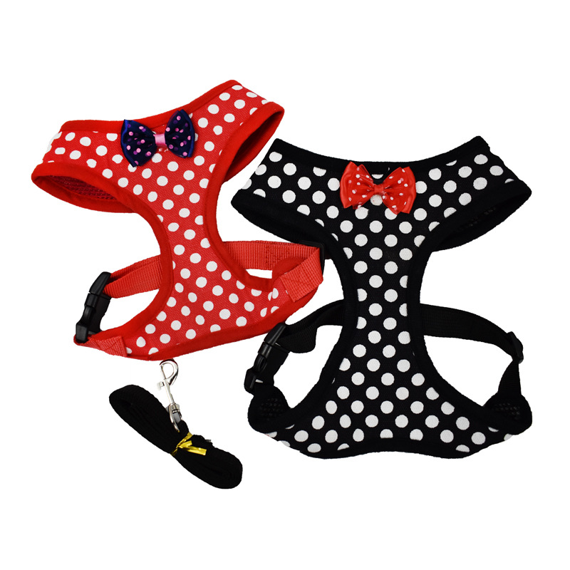 Pet Supplies Small And Medium-sized Dogs Chest And Back With Bowtie Polka Dot I-Shaped Chest And Back Supporting Hand Holding Ro
