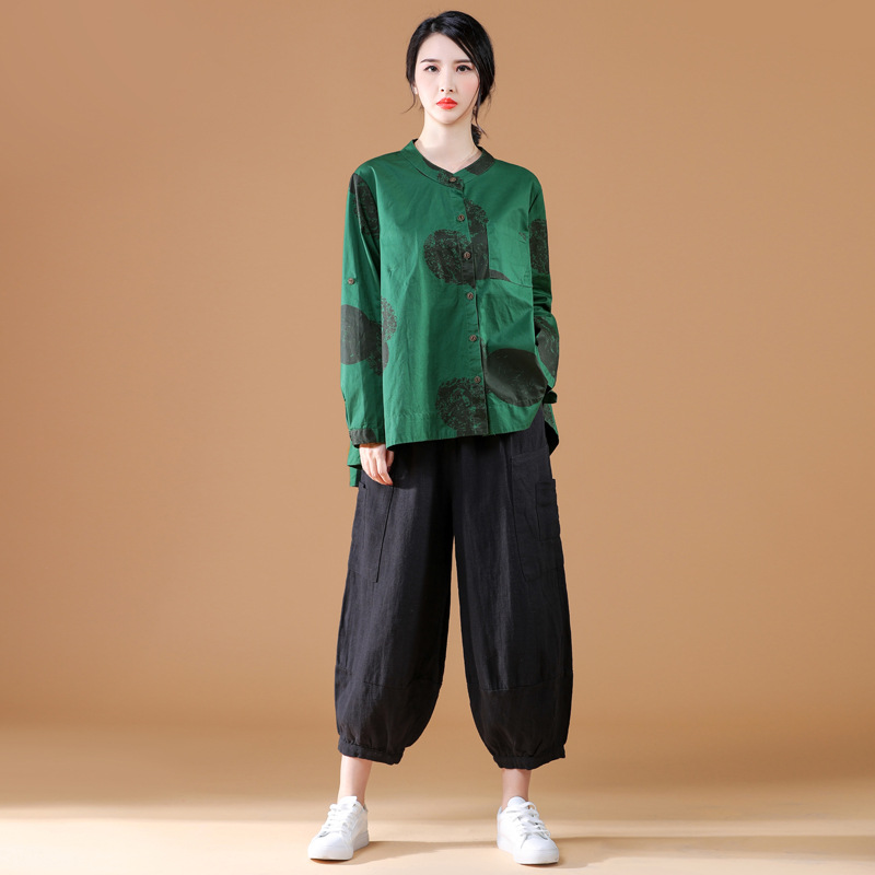 2020 Spring New Style Retro Cotton Linen Printed Large Size Long-sleeve Blouse + Loose Pants Fashion Casual WOMEN'S Suit
