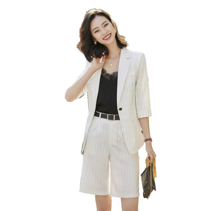 New 2020 Summer Women Korea Blazer Striped Short Pant Set Casual Half Sleeve Blazer And Short Pant Suit Female Office Loose Suit