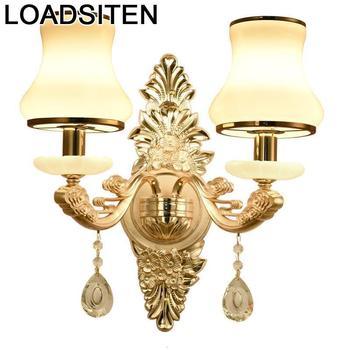 Decor Coiffeuse Avec Miroir Aplique Applique Murale Luminaire Wandlamp Crystal Lampara De Pared Interior Wall Bedroom Light