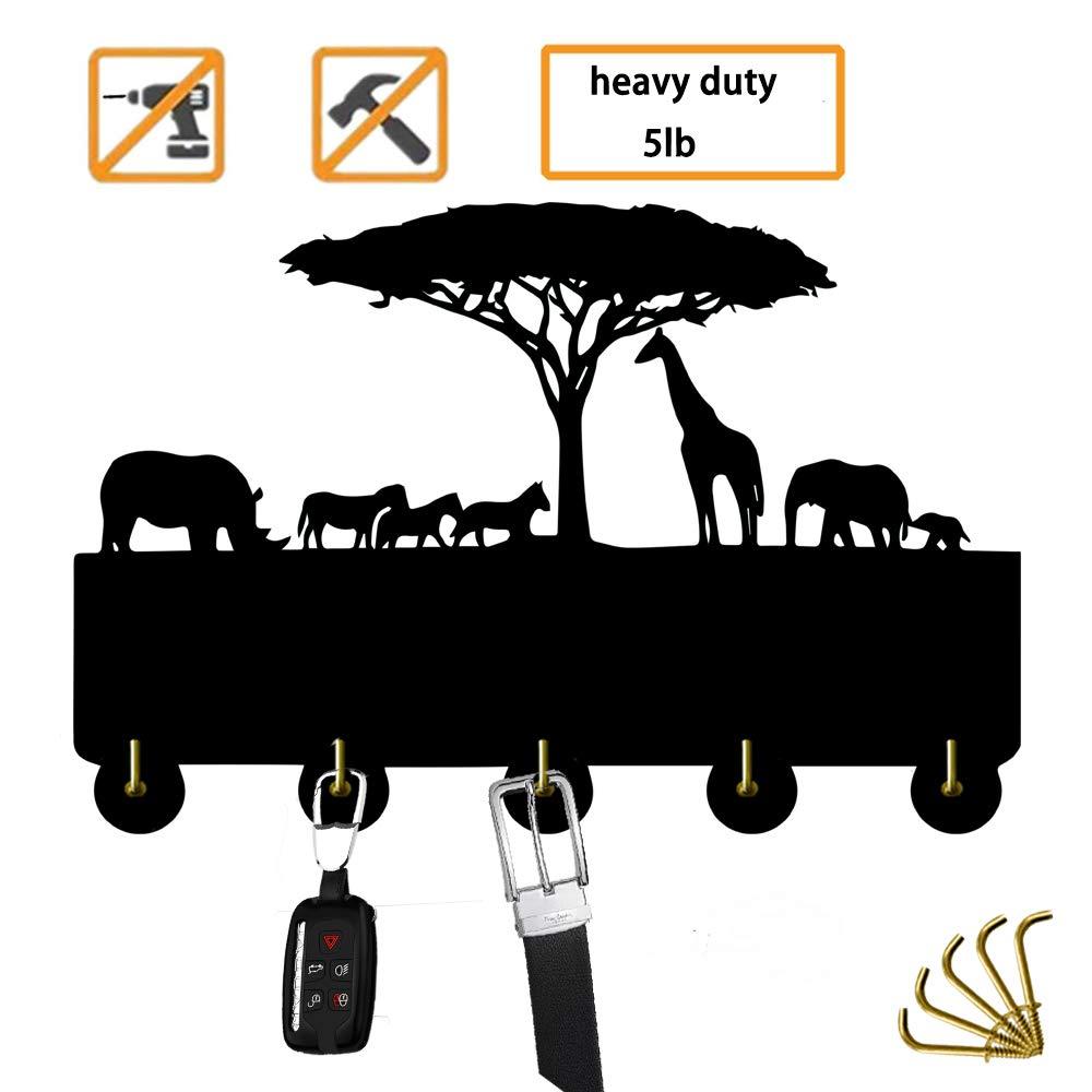 Giraffe Animal Hooks Key Hooks Wild Animal Modern Coat Rack Home Decoration Black Heavty Duty 5Lb