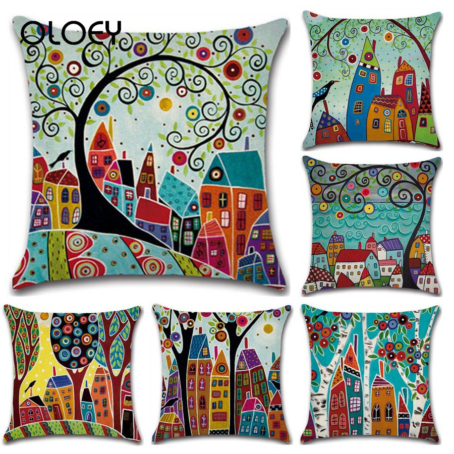Hand Drawn Retro Country Color City 45 * 45cm Pillowcase Linen Pillow Car Home Decoration Pillowcase Car Decoration Pillowcase .
