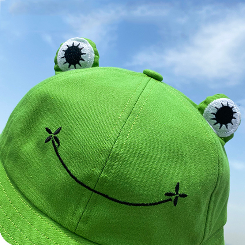Fashion Frog Bucket Hat for Women Summer Autumn Plain Women Panama Outdoor Hiking Beach Fishing Cap Sunscreen Female Sunhat Bob