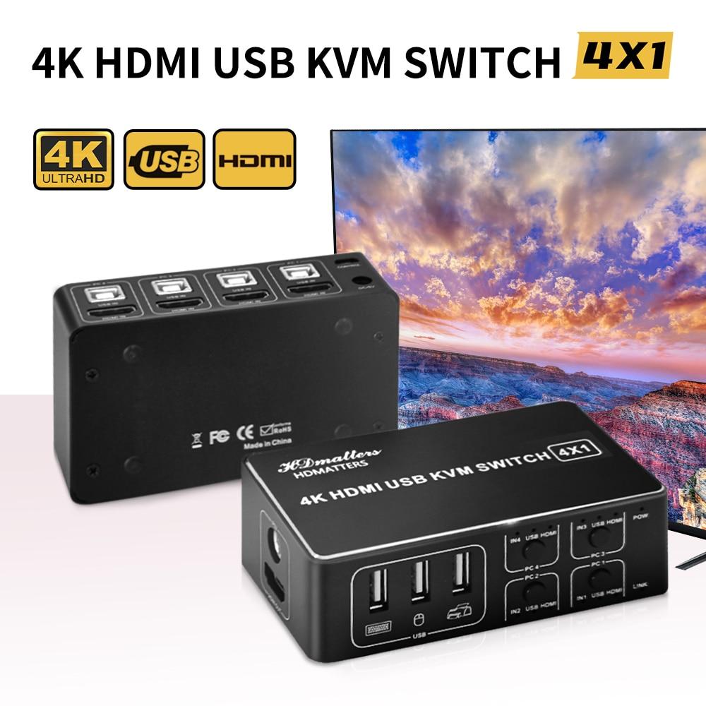 KVM-переключатель, совместимый с 4 портами HDMI, 4K, 2 порта USB, HDMI KVM-переключатель для 2 ПК, ноутбука, 1 монитор HDMI и мышь UBS, клавиатура