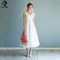 2020 Simple Satin Tulle Light Wedding Dress A Line V neck Tea Length White Ivory Bridal Wedding Dress Sleeveless