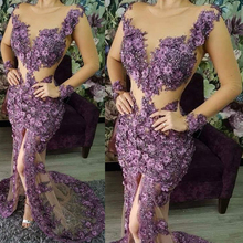 purple flowers prom dresses beaded front slit luxury evening mermaid lace gowns sheer long sleeve party dress
