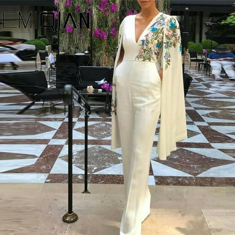 Long Embroidery Jumpsuit Long Pant Jumpsuit Long Sleeve Formal Dress White Jumpsuit V Neck Jumpsuits Dubai Gown