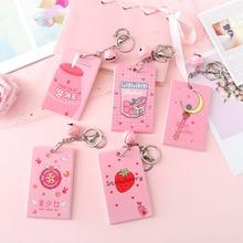 Keychain Card-Holder Protection-Cover Name-Badge Id-Card Kawaii Plastic Cartoon Cute