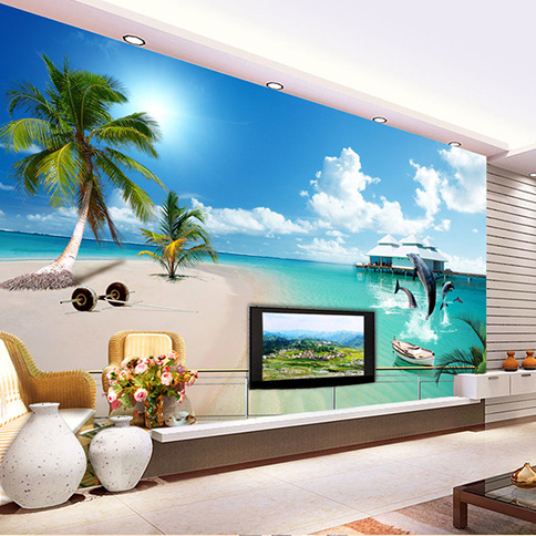 Waterproof 3D Seamless Large Mural Wall Cloth Living Room Sofa TV Background Wallpaper Dolphin Beach Mediterranean Wallpaper