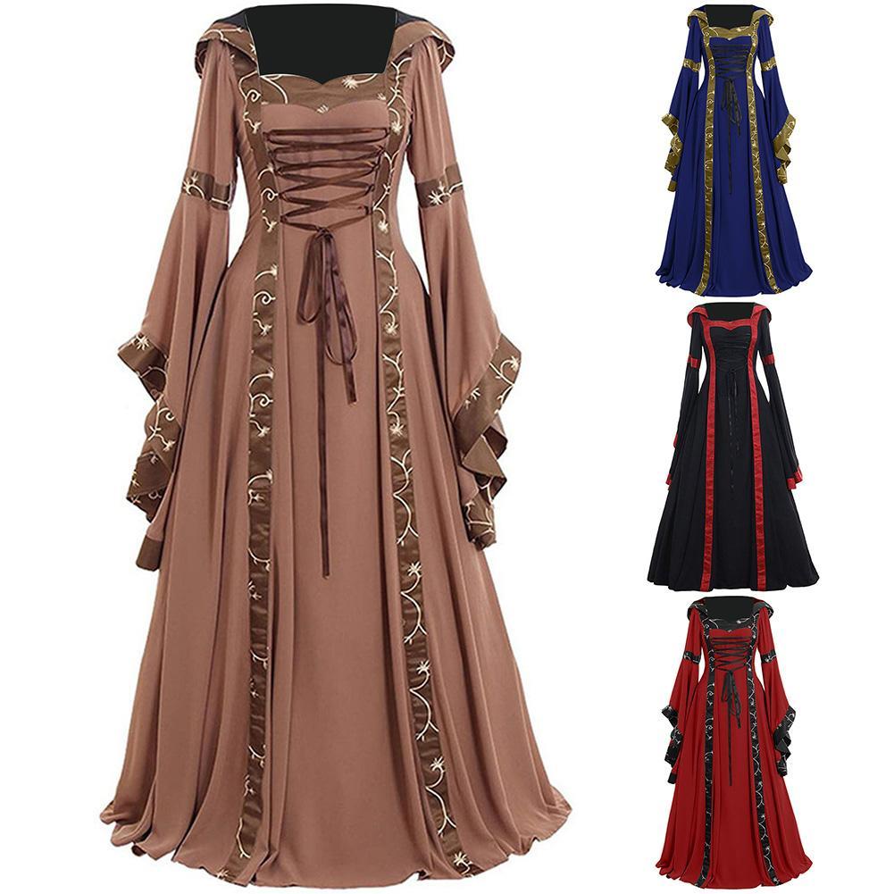 Винтажное кельтское женское платье на шнуровке с длинным рукавом длиной до пола, средневековое платье, костюм на Хэллоуин, женские вечерние платья для косплея, длинное платье