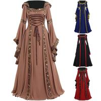Vintage Celtic Women Lace Up Long Sleeve Floor Length Medieval Dress Halloween Costume Lady Cosplay Party Long Dress