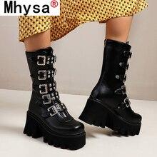 Botas de plataforma gótica Punk para mujer, zapatos de cuña con correa de Hebilla negra y cremallera, media pantorrilla, combate militar, para invierno