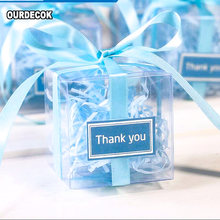 100 Pieces/lot Clear square PVC Birthday Gift Box Wedding Favor Holder Transparent Chocolate Candy Boxes 5x5x5cm(China)