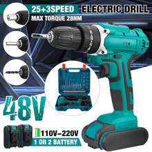 Tools-Set Hammer-Screwdriver Electric-Drill Cordless Impact 2-Battery 25 48V with 6000MAH