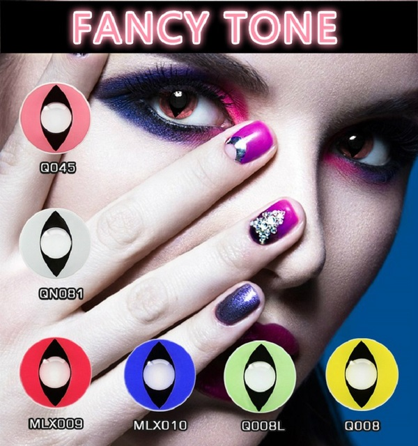 [FANCY TONE]  1 Pair Cat Eye Halloween Contacts Crazy Contact Lens for cosplay Cosmetic Contacts Lenses Eye Color 3