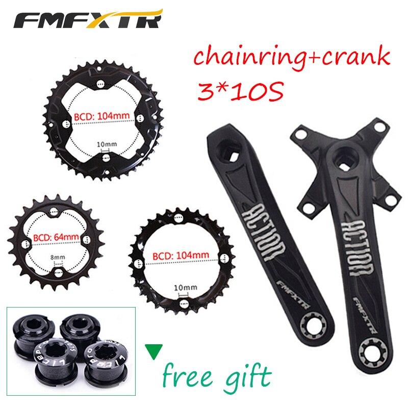 24//32//42t 104//64bcd Triple Speed MTB Bike Crankset 170mm Crank Arm set Chainring