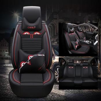 Universal Leather Car seat cover for vw polo 6r 9n sedan sagitar santana tiguan touareg of 2018 2017 2016 2015