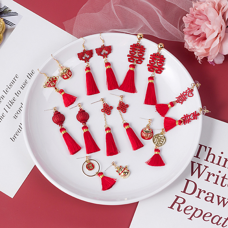 Hello Miss праздничные красные свадебные серьги, асимметричные китайские серьги с узелком, фонариками и кисточками, новогодние серьги, модные ж...