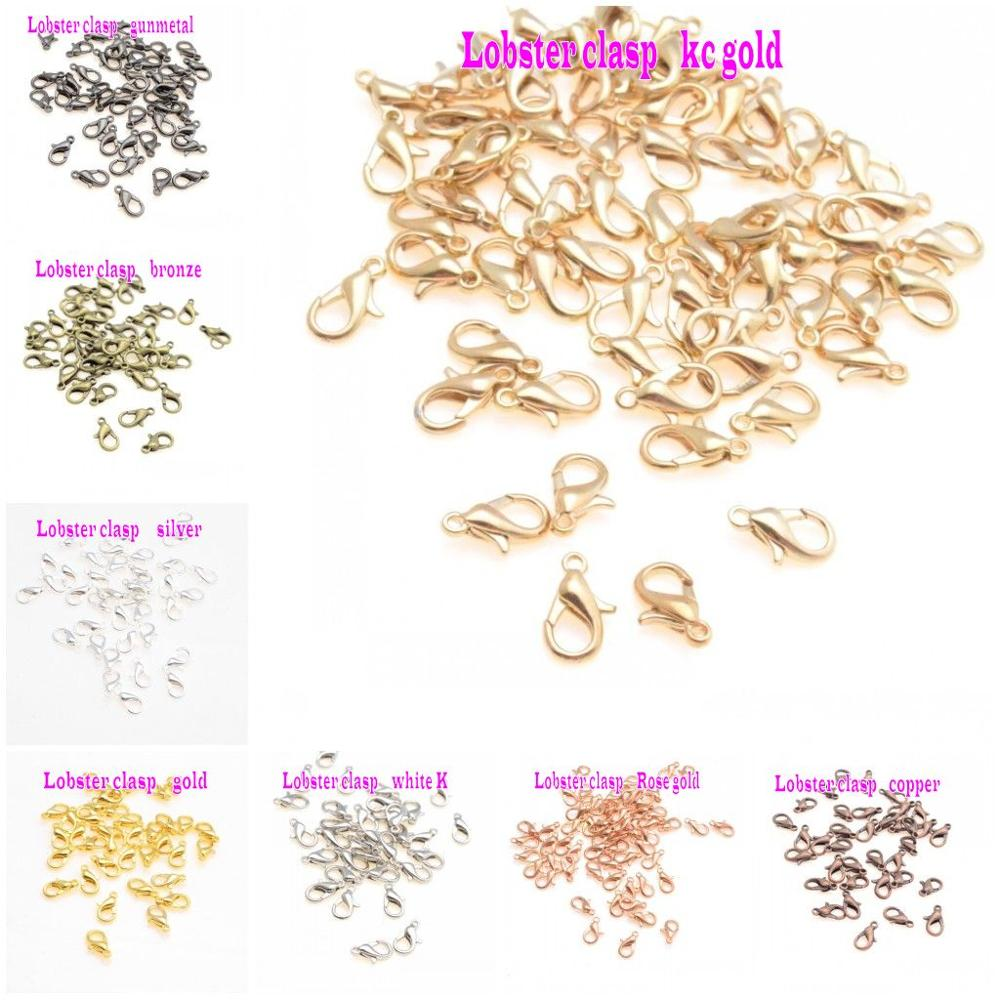 Jewelry Findings Diy 12/14mm Metal Lobster Clasps Hooks Bracelet End Connectors For Jewelry Making DIY Necklace Buckle