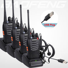 4Pcs/lot BAOFENG BF-888S Walkie Talkie Two Way Radio Baofeng 888s UHF 400-470MHz 16CH Long Range Portable Transceiver+Earpiece N