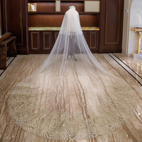 Two Layers Lace Applique Wedding Veil with Comb Champagne Tulle 4 Meters Long Bridal Wedding Veils Luxury