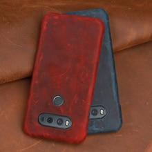 Crazy horse skin Phone Case For LG V10 V20 V30 V40 V50 ThinQ G3 G4 G5 G6 G7 G8s ThinQ K40 K50 Q7 Q6 Q Stylo4 Back cover luxurious litchi grain genuine leather flip cover phone skin case for lg q6 q7 q8 g8 thinq g8s thinq cell phone cover