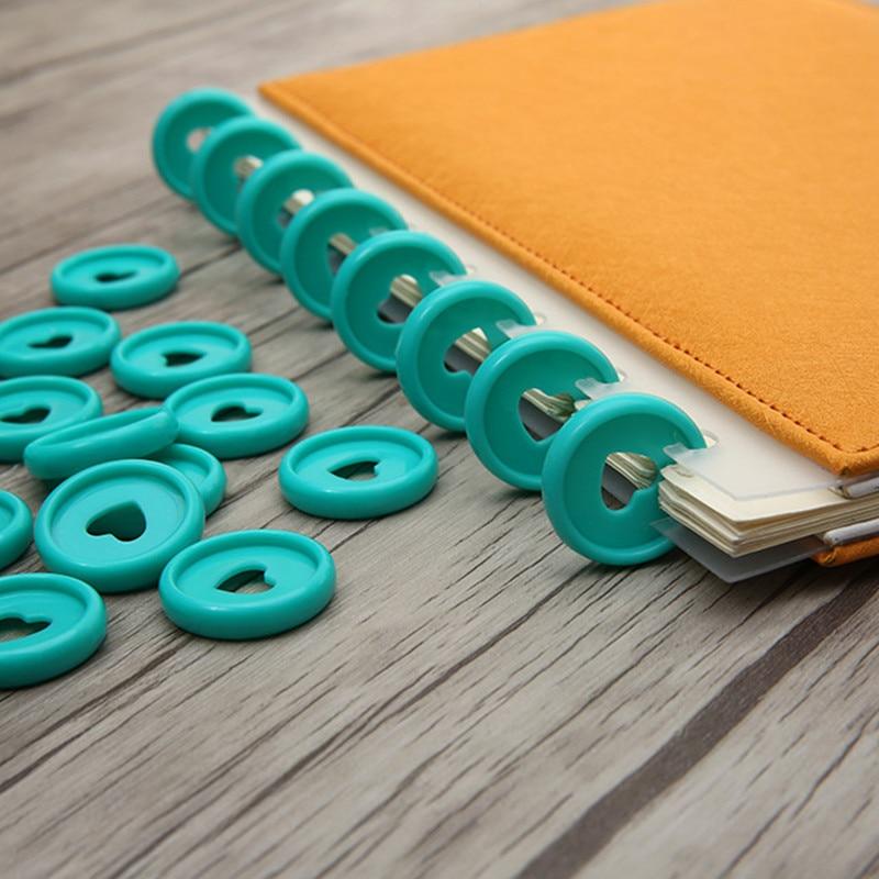 30/50/100 Pcs Solid Heart Loose Leaf Binder Ring For Notebooks 24mm Diy Happy Planner Disc Mushroom Binders For Scrapbooking