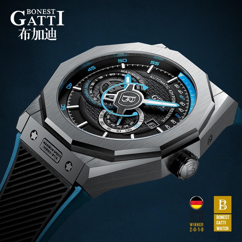 Automatic Mechanical Watch Men Top Brand GATTI Luxury Leather Mens Wristwatches Waterproof Sports Blue Watches Relogio Masculino|Mechanical Watches| - AliExpress