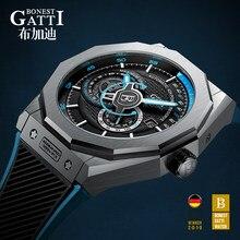 Relógio mecânico automático dos homens marca superior gatti luxo couro masculino relógios de pulso à prova dwaterproof água esportes azul relogio masculino