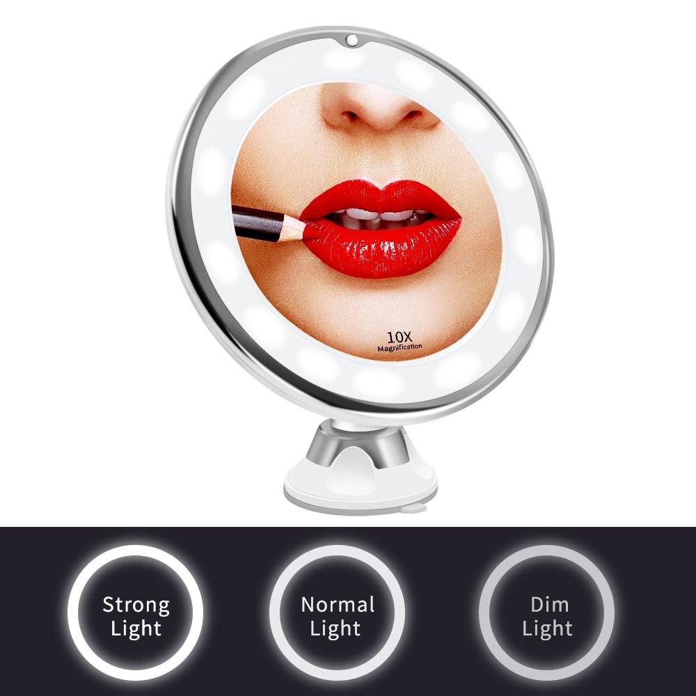 10X LED Mirror Makeup Mirror Flexible Mirror illuminated Magnifying Vanity Mirrors with Light Make up Miroir Bathroom Mirrors 10