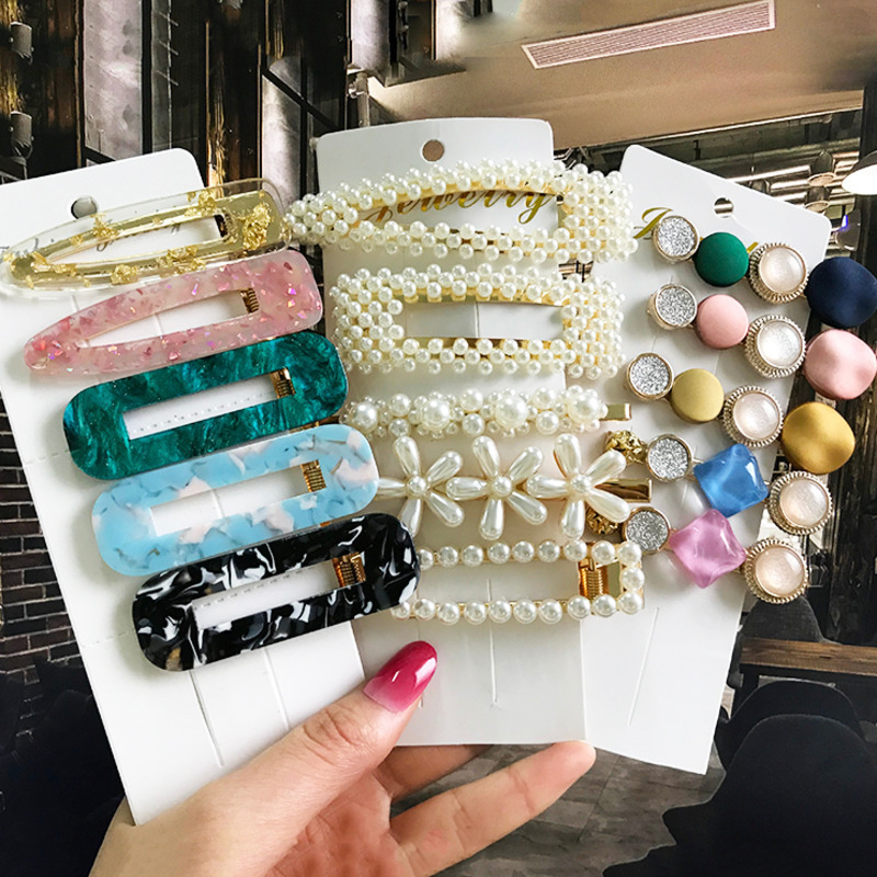 Ins New Fashion Hair Jewelry Hairgrip For Women Girls Sweet Pearls Hair Pins Barrettes Hair Clips Hair Ornament Hair Accessories