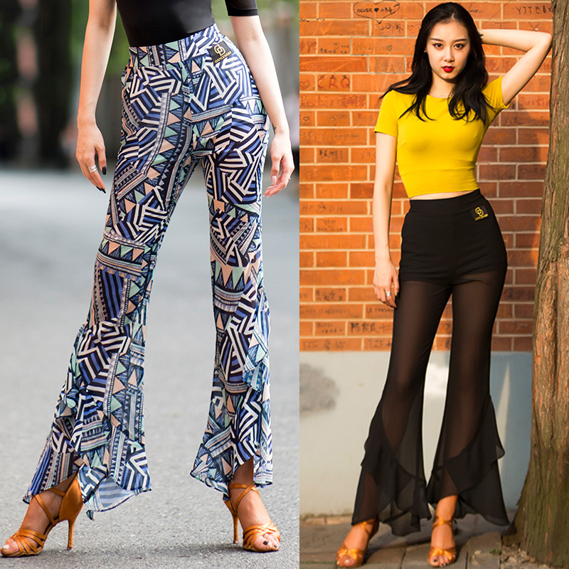 Latest Latin Pants Women Dance Pants Bell-bottoms Chiffon Standard Ballroom Tango Practice Wear Dance Clothes Women  BL2288