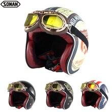 Motorcycle Helmet Open-Face Retro Soman Casco Casque Para DOT SM512 Dot-Approved Cacapete