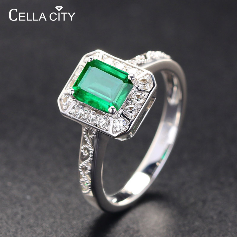 Cellacity Classic 925 Silver Rings With Rectangle Shape Emeral Zircon Gemstone Jewelry Open Size For Women Party Gift Wholesale