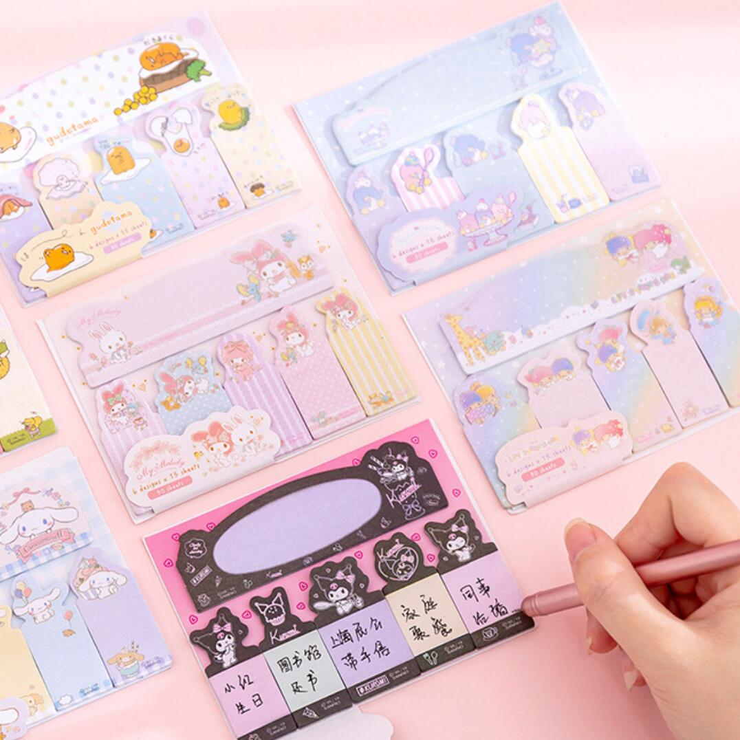 Kawaii Sanrio Lazy Egg Gudetama Melody Twinstar Fingers Memo Pad Sticky Notes Memo Notepad School Office Supply Gift Stationery