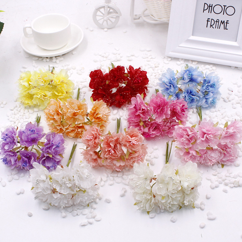 6pcs/Bunch DIY Material Simulation Bridal Headwear Silk Flower Heads Lace Carnation For Wedding Party Garland Accessories Decor
