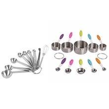 10 шт. набор ложек и мерные стаканчики из нержавеющей стали с ручками и 9 шт стекируемые мерные ложки, мерные ложки из нержавеющей стали
