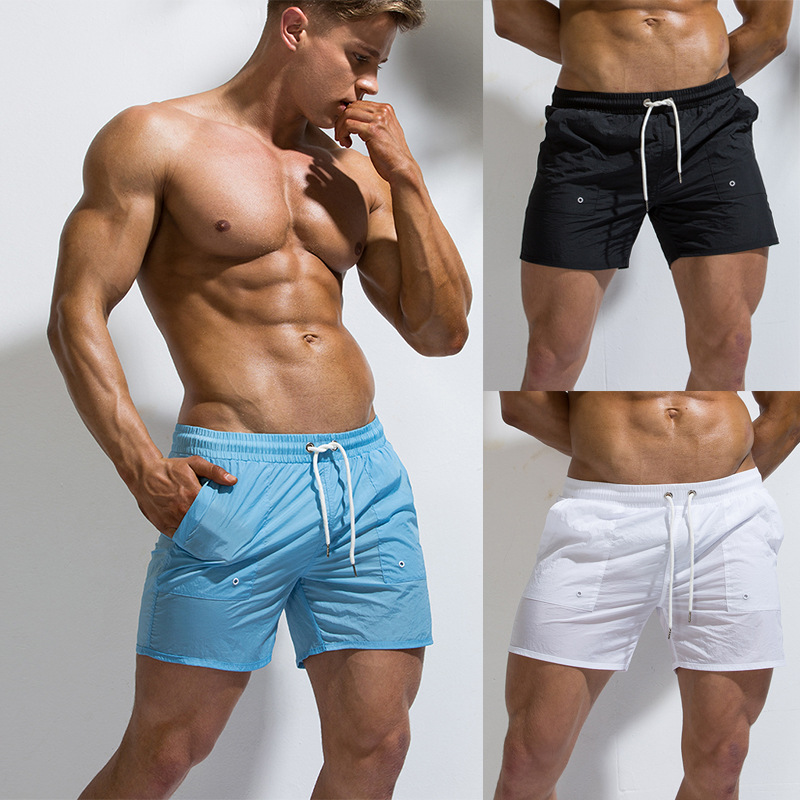 Fashion-Youth Solid Color Sports Casual Shorts Men Wicking Breathable Short Large Size Beach Shorts