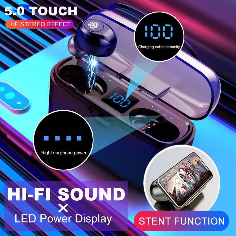Bluetooth Earphone F9 TWS 5.0 Wireless Touch Control Stereo Wireless Earbuds Headset With Power Bank Headset For IPhone Android