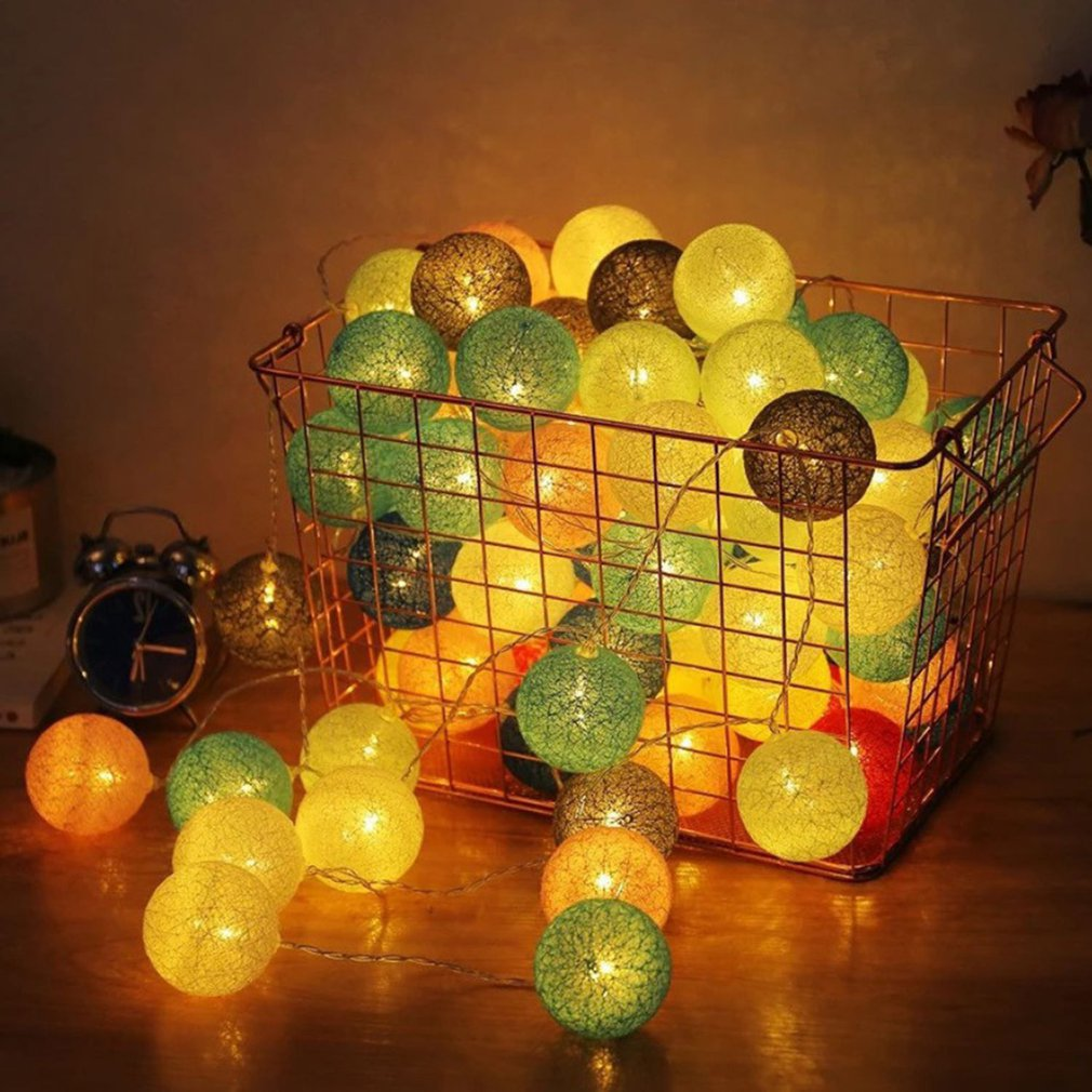 20Led Cotton Ball String Wedding Christmas Day Lantern String Ins Nordic Home Decoration Lamp