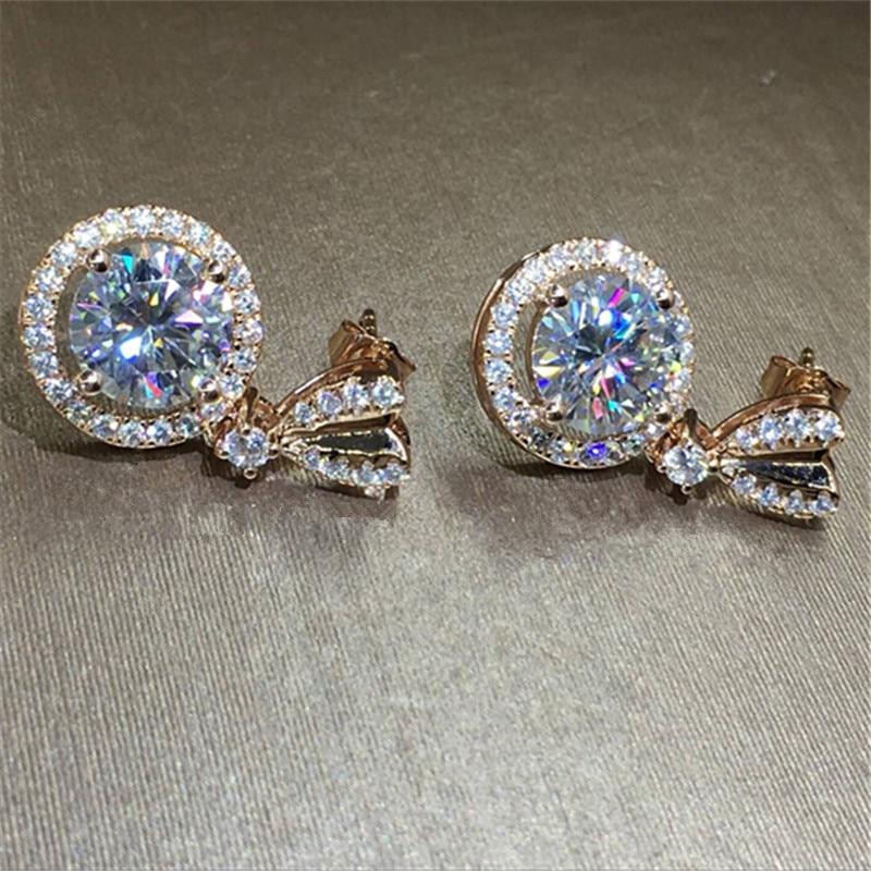 Bowknot 18K Rose Gold Diamond Dangle Earring Original 925 sterling silver Jewelry Party Wedding Drop Earrings for Women Bridal