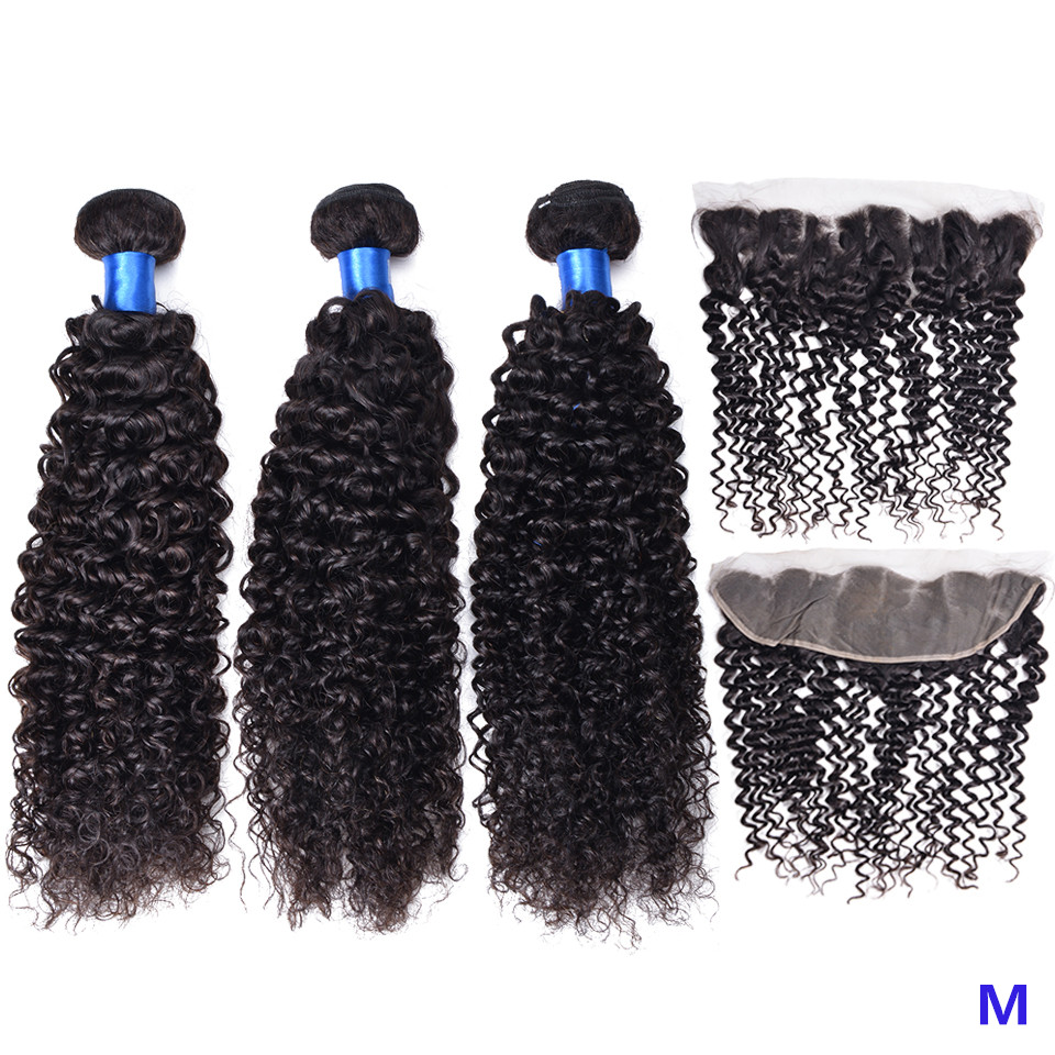 "OYM HAIR Curly Peruvian Hair 3 Bundles With Frontal Closure 8""-26"" Middle Ratio Non-Remy Human Hair Bundles With Closure"