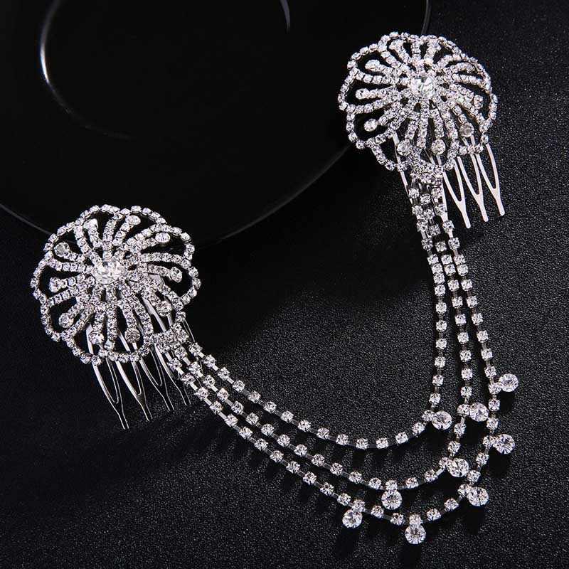 FORSEVEN, borla larga de cristal brillante, peines para el cabello, Tiaras, accesorios para la frente, joyería para novia, boda, fiesta, velo, adornos