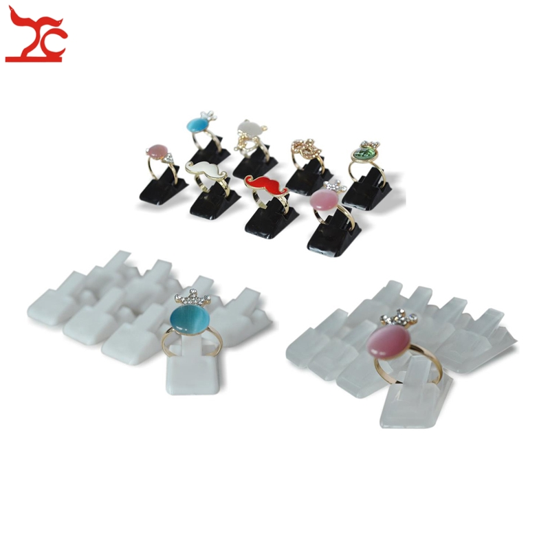 Wholesale 20Pcs Mini Plastic Frosted Jewelry Display Holder Ring Decoration Stand Ring Storage Organizer Holder Clip Rack